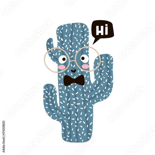 Cute cartoon cactus in glasses. Childish print for nursery, kids apparel,poster, postcard. Vector Illustration
