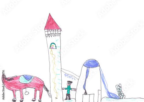 Rapunzel wird von ihrem Prinzen und seinem Pferd gerettet Canvas Print