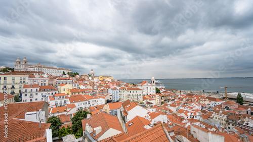 Obraz na płótnie Pejzaż miejski architektura Panoramiczny Plenerowy widok Portas robi Sol punkt widzenia, Lisbon Portugalia