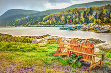 Port-au-Persil Beach In Quebec, Canada Charlevoix Region During Stormy Rainy Day With Saint Lawrence River And Wooden Chairs