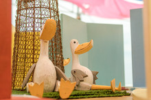 Wooden Duck Toys Outside On Th...