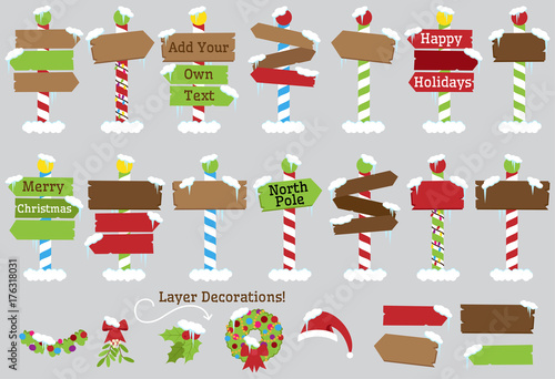 Fotografie, Obraz  Cute Vector Collection of North Pole Signs or Christmas and Winter Themed Signs