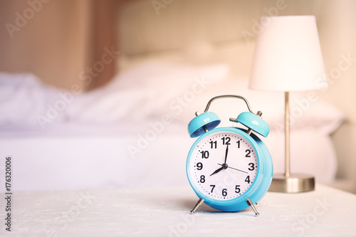 Morning alarm clock, bedroom interior,healthy life border copy space,wake up energy Poster