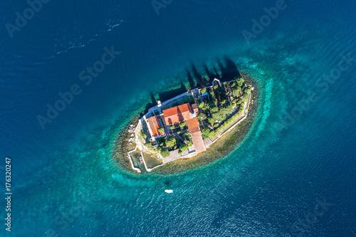 Zdjęcie XXL Widok z lotu ptaka zatoka Kotor, St George monaster