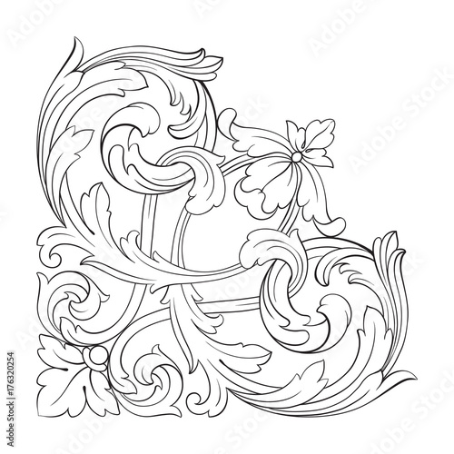 Poster Sprookjeswereld Classical baroque ornament vector