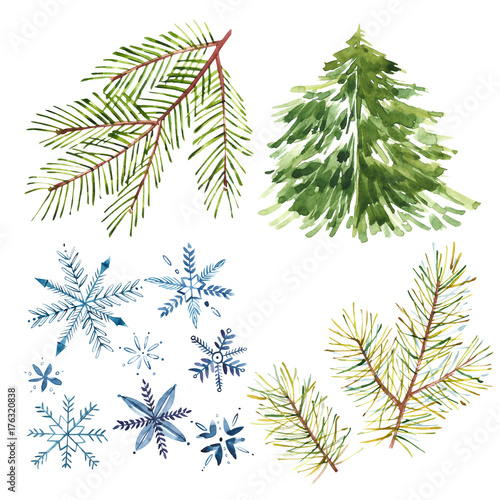 Set of watercolor snowflakes, xmas trees isolated on white ...