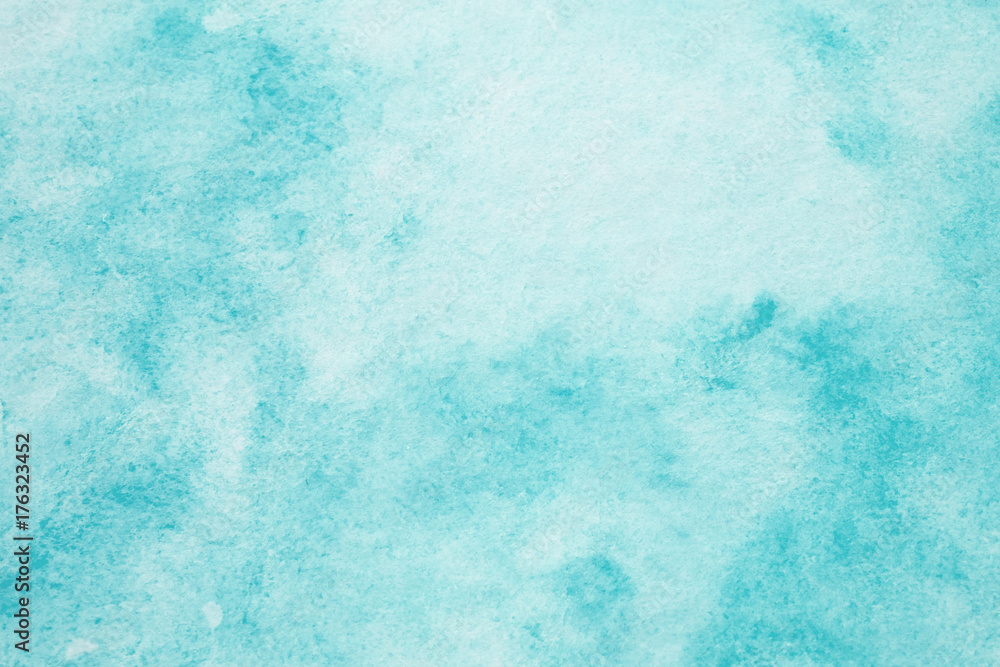 Fototapety, obrazy: Blue abstract watercolor painting textured on white paper background
