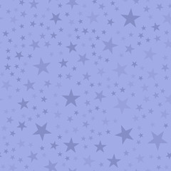 Light stars seamless pattern on purple background. Good-looking endless random scattered light stars festive pattern. Modern creative chaotic decor. Vector abstract illustration.