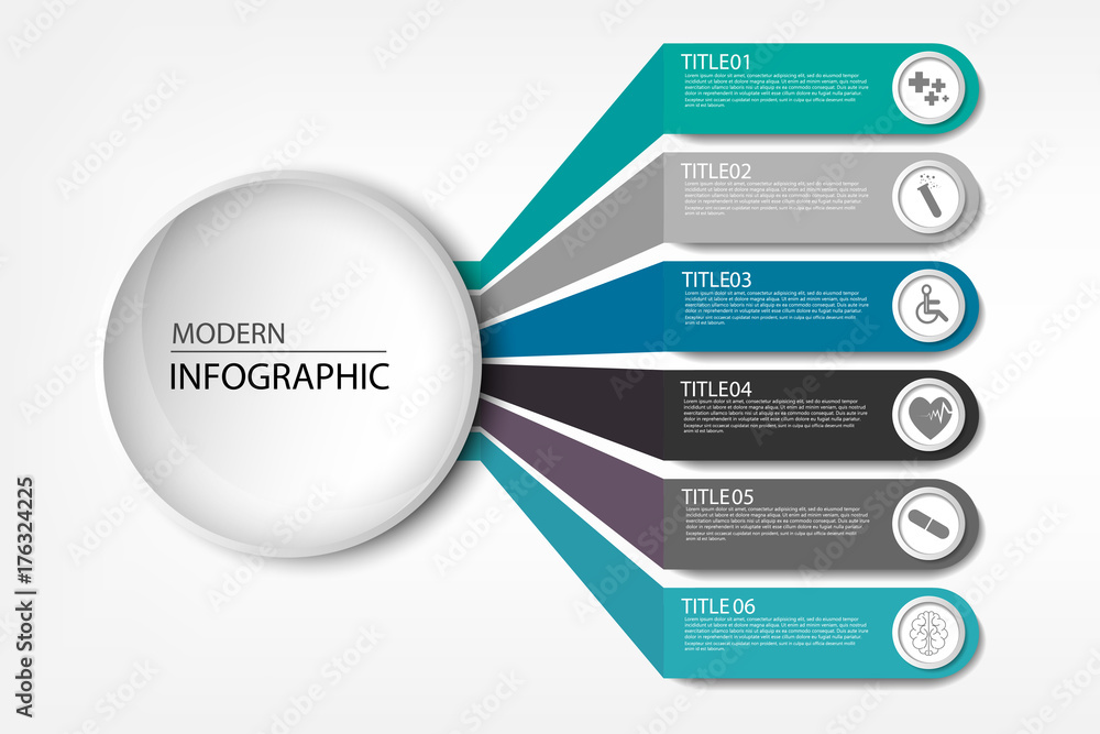 Fototapeta Medical information display Process chart Abstract element of the diagram diagram with step, option, section or process Vector business template for presentation Creative concept for infographic