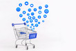Shopping cart with Shopping icon on white background , Koncept shopping online