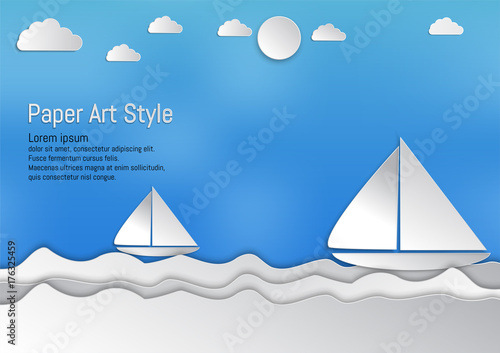 Foto op Aluminium Blauw Paper art style, waves with sailboat and clouds, vector illustration