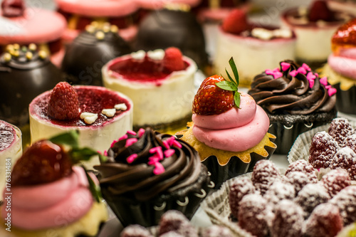 desserts in bakery case