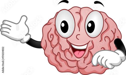 Brain Mascot Teach Illustration