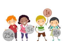 Stickman Kids Holding Coins