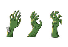 Zombie Hands Sticking From Out The Ground. For Halloween Party Decor