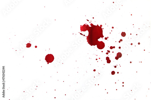 Fotomural  Blood splatters on white background.