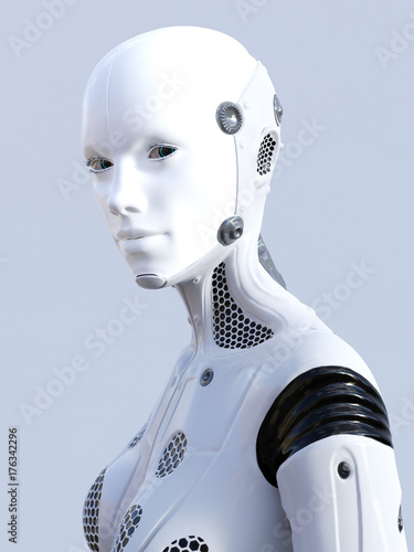 3D rendering of female robot face. Canvas Print