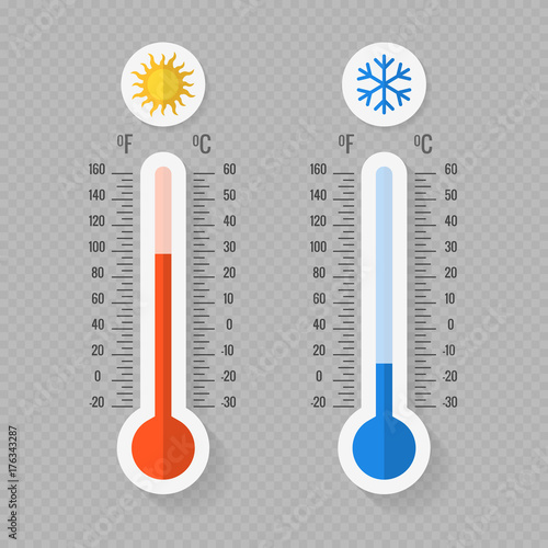 Fotografie, Obraz  Hot and cold meteorology thermometers on transparent background