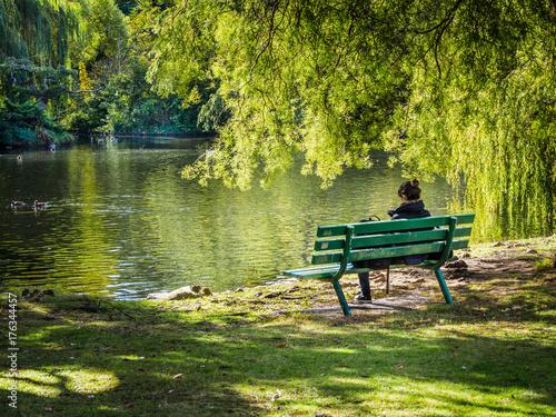 Plakat Kobieta siedzi na ławce z widokiem na jezioro, pod płaczącą wierzbą