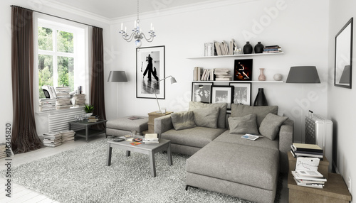 Bucher Im Wohnzimmer Einrichtung Und Dekoration Buy This Stock