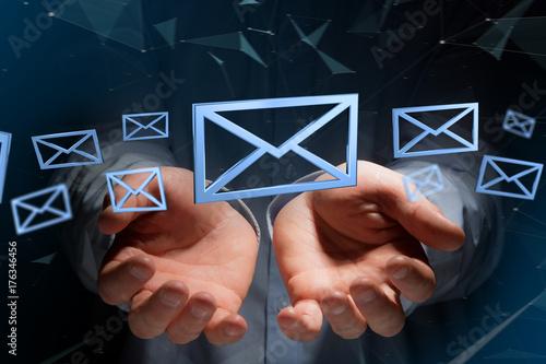 Zdjęcie XXL Błękitny emaila symbol wystawiający na koloru tle - 3D rendering