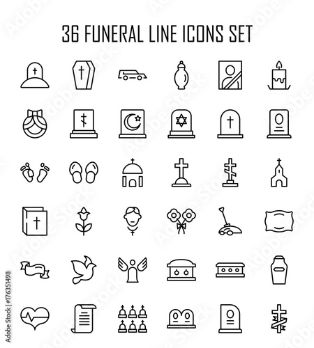 Funeral icon set Wall mural