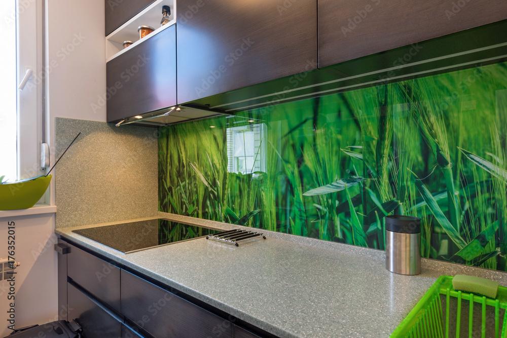 Fototapeta Modern kitchen interior with elements