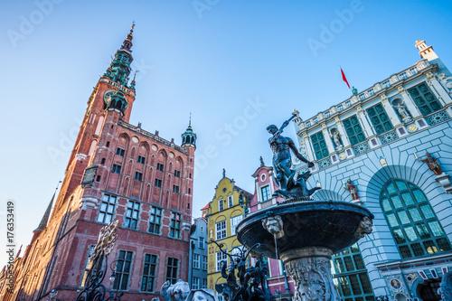 Neptune Fountain in Gdansk. Poland Canvas Print