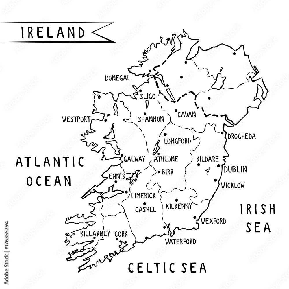 Ireland hand drawn map vector illustration with main cities ...