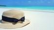 P01696 Maldives white sandy beach hat on sunny tropical paradise island with aqua blue sky sea ocean 4k