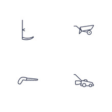 Set Of 4 Horticulture Outline Icons Set.Collection Of Grass-Cutter, Barrow, Arm-Cutter And Other Elements.
