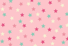 Seamless Pattern Pink And Green Star Design On Pink Background