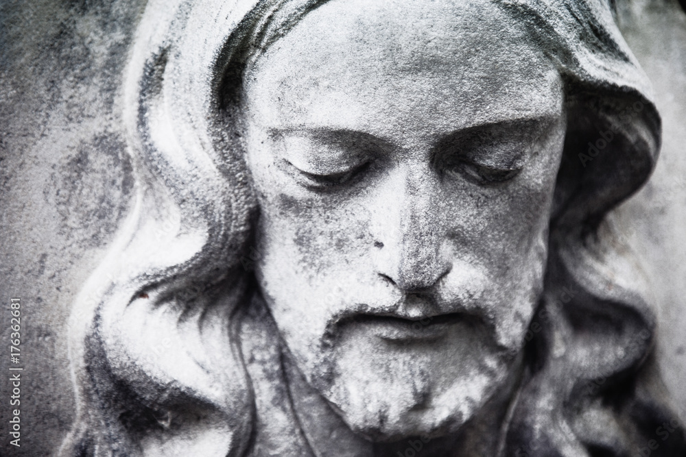 Fototapety, obrazy: fragment of antique statue Jesus Christ as a symbol of love, faith and religion.