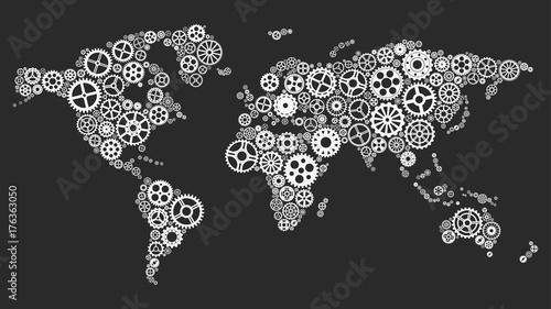 Fotografia  World map with gears