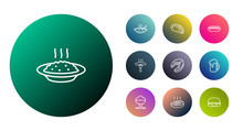 Set Of 10 Food Outline Icons S...
