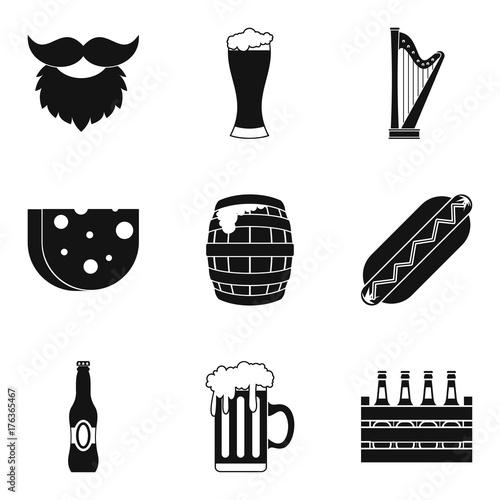 Fotografija  Drunken binge icons set, simple style