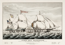 Old Illustration Of The Steam Ship Washington. By Currier, Publ. In New York, 1847