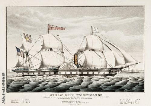 Old illustration of the steam ship Washington Canvas Print