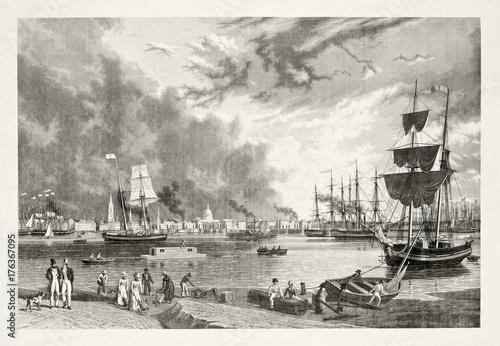 In de dag Schip Vintage gray tone illustration of New Orleans port. Ships and people on foreground.