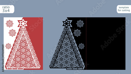 Laser Cut Out Christmas Card Template Paper With Pattern Of Tree Cutout Gate Fold For Cutting Or