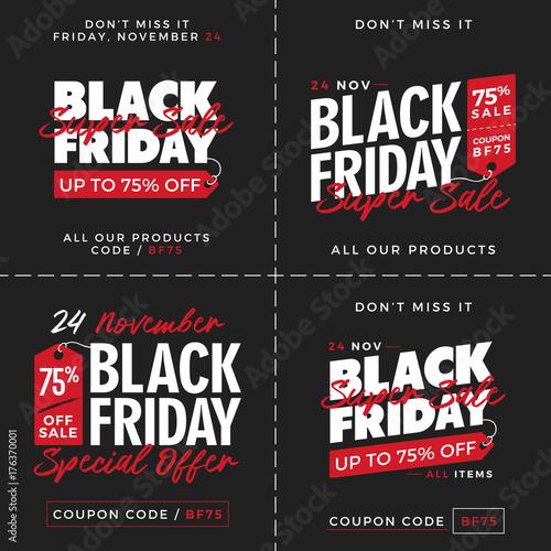 5e172c4fa6c Set of Black Friday Super Sale Promotion with Price Tag Element Inscription  Design Template Banner