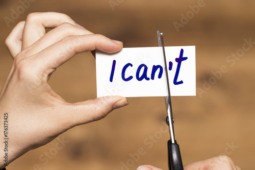 I can self motivation - cutting the letter t of the written word I can't so it s Canvas Print