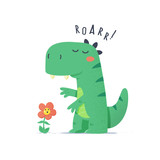 Fototapeta Dinusie - Cute little green dinosaur monster trying to scare flower vector cartoon illustration