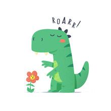Cute Little Green Dinosaur Mon...