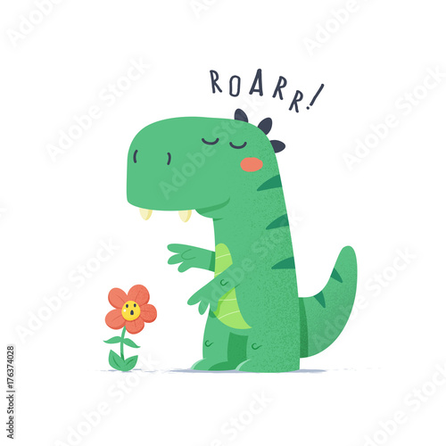 Cute little green dinosaur monster trying to scare flower vector cartoon illustration