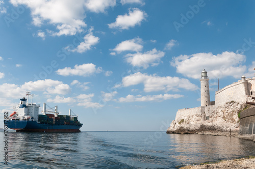 In de dag Havana Cargo ship leaving Havana.Cuba
