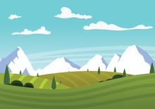 Cartoon Farm Landscape With Green Fields