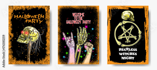 Fotografie, Tablou  Set of six hand drawn style Halloween poster designs with Halloween symbols and calligraphy