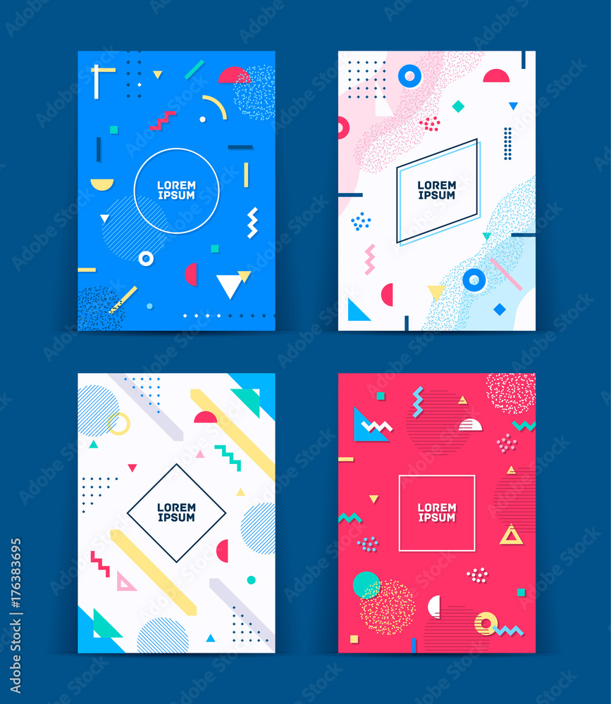 Fototapeta Set of neo memphis style covers. Collection of cool bright covers. Abstract shapes compositions. Vector.