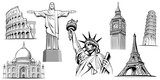 Fototapeta Big Ben - travel destinations-famous placesNYC, London Big Ben, Rome-Coliseum, Paris-Eiffel Tower, Rio de Janeiro-Jesus Statue, NYC-Statue of liberty